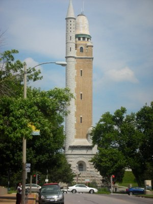 Grand Boulevard (St. Louis) - The national landmark Compton Hill Reservoir Water tower sits in Compton Hill Reservoir Park along Grand Boulevard.