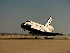 STS-51-J - Space Shuttle Atlantis lands on the dry desert lakebed of Edwards Air Force Base at the end of the STS-51-J mission.