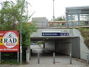 Osdorfer Straße station - The station entrance in May 2013