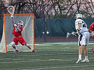 Goaltender (field lacrosse) - Image: Sacred Heart goalie making save against Wagner