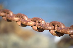 English: Close-up on links of a safety chain i...