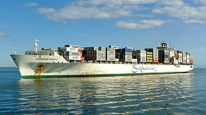 Safmarine Makutu, a Panamax container ship delivered to Safmarine in 2007, arriving in Fremantle, Australia, in 2015