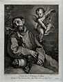 Saint Francis of Assisi having a vision of an angel playing Wellcome V0032026.jpg