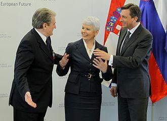 Sali Berisha - Berisha meeting with Jadranka Kosor in Borut Pahor