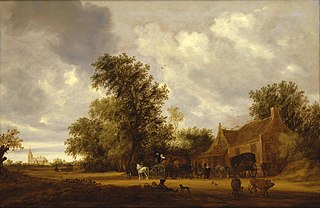 A wooded landscape with cattle, carriages on a track and an inn, a church beyond