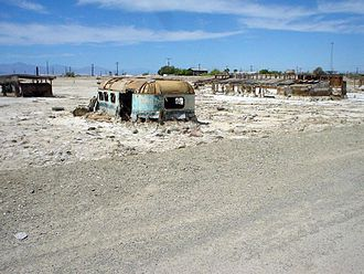 Bombay Beach, California - Abandoned, salt-encrusted structures on the Salton Sea shore at Bombay Beach