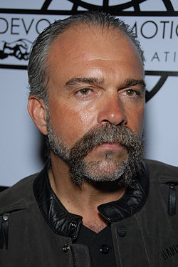 Sam Childers arriving at a book signing of Another Man's War