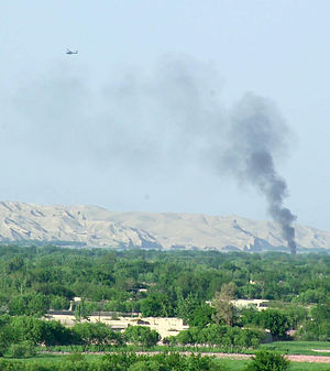 Sangin District Centre during a fight between British troops and the Taliban in 2007