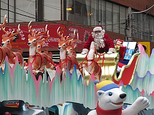 Santa Claus's reindeer - Santa Claus and seven of his reindeer in a parade in Toronto 2007