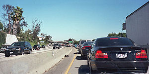 Transportation in the United States - A traffic jam on a typical American freeway, the Santa Monica Freeway in Los Angeles.