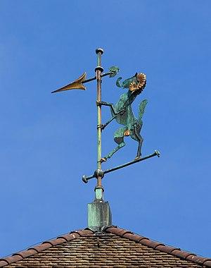 Top of the Schwabentor with the ram, the heraldic animal of the city of Schaffhausen, Schaffhausen, Switzerland