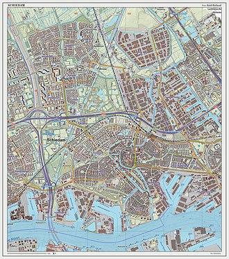 Schiedam - Dutch Topographic map of Schiedam, as of Sept. 2014