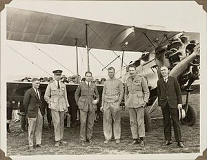 C. W. A. Scott - Adelaide August 1928, Royal Air Force Air Marshal Sir John Salmond (second from left) with members of his party C.W.A. Scott (pilot, second from right) and George Nutson (engineer, first on left) after a taxi trip from Darwin using the DH.50J Hermes during Salmond's tour of northern Australia