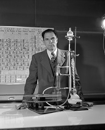 Glenn T. Seaborg, who settled thorium's location in the f-block Seaborg in lab - restoration.jpg