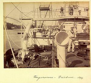 Seamen aboard HMS Ringarooma Brisbane 1894.jpg