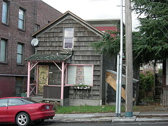 Cascade, Seattle - This unprepossessing house at 1206 Republican St. dates from 1890. Demolished in late 2008, it was the oldest surviving building in the Cascade Neighborhood.