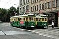 Seattle Waterfront Streetcar vehicles passing on Main Street.jpg