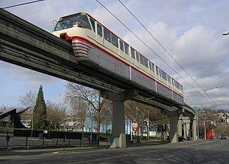 Seattle Center Monorail - A monorail train above 5th Avenue North in 2008