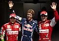Sebastian Vettel with Felipe Massa and Fernando Alonso (2010).jpeg