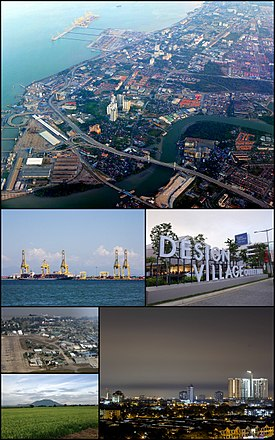 Clockwise from top: Butterworth, Design Village in Batu Kawan, Bukit Mertajam, a paddy field near Mertajam Hill, RMAF Butterworth, the Port of Penang
