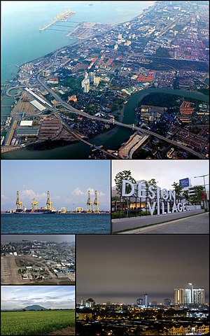 Seberang Perai - Clockwise from top: Port of Penang, a Rapid Ferry in Butterworth, Perda City Mall, Seberang Perai Municipal Council Headquarters in Bukit Mertajam