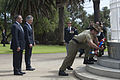 Secretary of Defense Leon E. Panetta, left, stands with Australian Minister for Defence Stephen Smith during a wreath laying ceremony at Kings Park in Perth, Australia, on Nov 121114-D-BW835-484.jpg