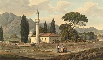 Hasan Baba Tekke - View of the complex from Edward Dodwell's Views in Greece (1821), showing the now vanished mosque, with the dome of the türbe in the background