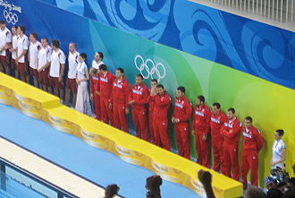 Water polo at the 2008 Summer Olympics – Men's tournament - Image: Serbia bronze mens waterpolo 2008