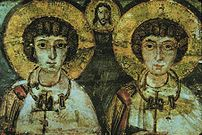 Saints Sergius and Bacchus. 7th Century icon. ...