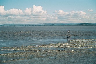 Severn Estuary - The Severn estuary at Beachley, Gloucestershire, showing the strong tidal currents.