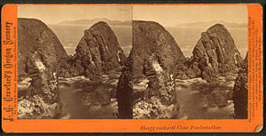 Cape Foulweather - Stereoscopic image of Shagg Rocks at Cape Foulweather, late 19th or early 20th century.