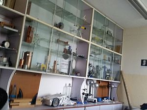 Education in Ethiopia - Shelves of equipment in a High School Physics Laboratory, Addis Ababa