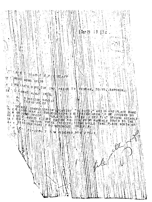 Shredded 1979-09-01 1305Z CIA cable from American Embassy Tehran