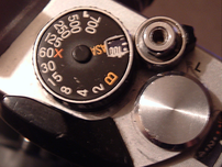 The shutter speed dial of a Fujica STX-1.