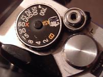 The shutter speed dial of a Fujica STX-1.