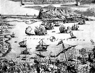 Thirteenth Siege of Gibraltar - Italian print of the Siege of Gibraltar in 1727