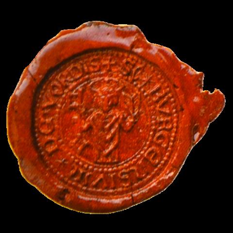 Siegelmarke Titel: SC * BVRGENSIVM * DE * VORDIS + ('Sekretssiegel der Bürger von Vorde') Beschreibung: roter Wachs, im Inneren des Siegels der heilige Liborius Ort: Bremervörde Größe: zwischen 3 und 4 cm
