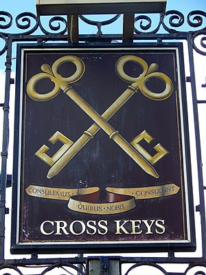 English: Sign for the Cross Keys A common sign...