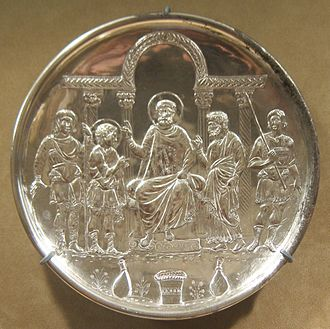 Byzantine silver - The silver plate of the David Plates collection that shows the meeting with Saul. Metropolitan Museum of Art.