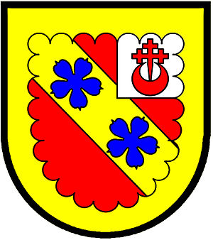 Ordinary (heraldry) -  a canton—Gules; on a bend or two cinquefoils azure, on a sinister canton argent a cross crosslet fitchy issuing out of a crescent of the first; a bordure engrailed or for difference—Cook, Scotland