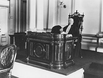 Alfred Cowley - Sir Alfred Cowley in the speakers chair in the Queensland Legislative Assembly, circa 1906