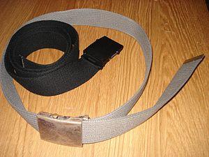 Webbed belt - Two webbed belts, one fastened.