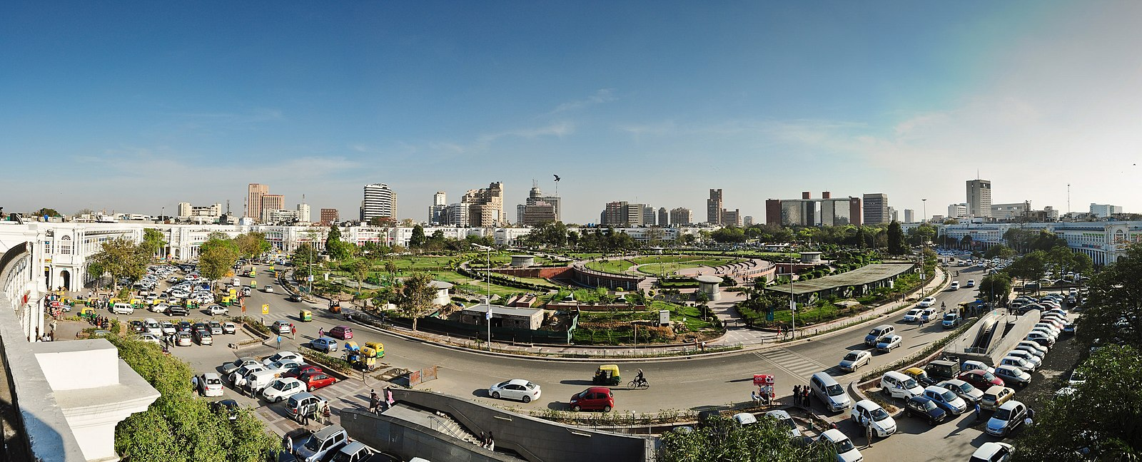 Connaught Place in New Delhi is an important economic hub of the National Capital Region. Skyline at Rajiv Chowk.JPG