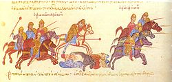 Medieval manuscript showing a group of horsemen on the left, armed with maces and lances, pursuing other horsemen who flee to the right