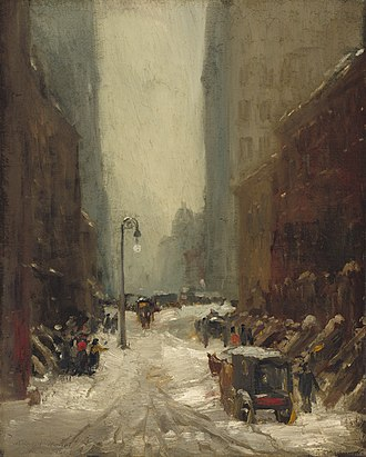 Nocturne (painting) - Robert Henri, Snow in New York 1902, exemplifies an urban nocturne by an American Realist, National Gallery of Art, Washington, D.C.