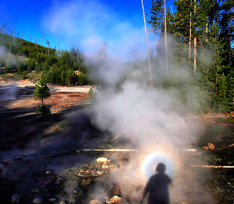 Solar glory at the steam from hot spring