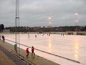 Bandy - Match between Helenelunds IK and AIK at Sollentunavallen in Sweden in 2006