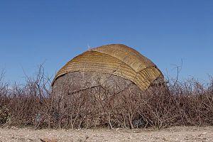 A traditional Somali nomad's hut (aqal) near B...