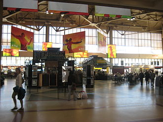 Transport hub - South Station, a MBTA, Amtrak and Greyhound transportation hub in Boston, Massachusetts, United States