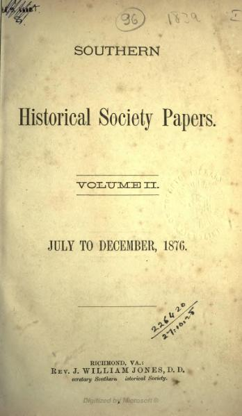 File:Southern Historical Society Papers volume 02.djvu
